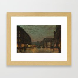 Boar Lane, Leeds, by lamplight Framed Art Print