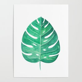 Monstera Leaf #2 | Watercolor Painting Poster