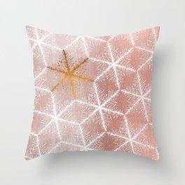 Elegant Geometric Gold Snowflakes Holiday Pattern Throw Pillow