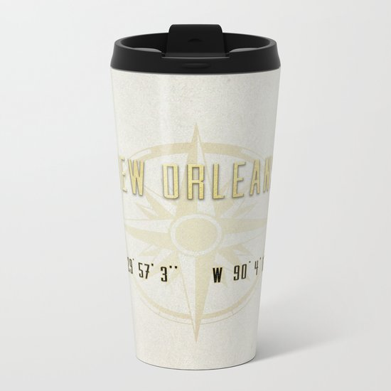 New Orleans - Vintage Map and Location Metal Travel Mug