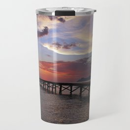 Anglers in the sunrise at the sea Travel Mug
