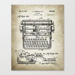 Typewriter Patent Drawing Canvas Print