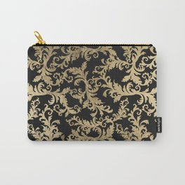Chic vintage faux gold floral damask pattern Carry-All Pouch