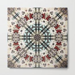 Vintage Distressed Mandala Design with hearts Metal Print