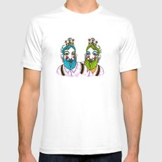 Crown Beard Twins White Mens Fitted Tee MEDIUM