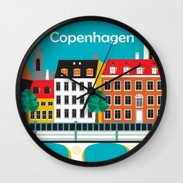 Copenhagen, Denmark - Skyline Illustration by Loose Petals Wall Clock