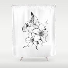 Sphynx cat & Sakura Blossoms Shower Curtain