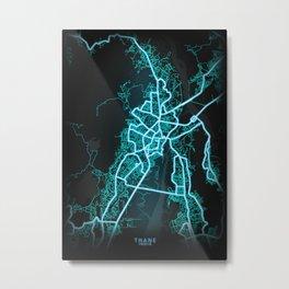 Thane, India, Blue, White, Neon, Glow, City, Map Metal Print