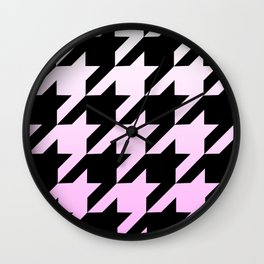 Marshmallow Pink Ombre Houndstooth Wall Clock