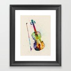 Violin Abstract Watercolor Framed Art Print