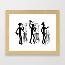 Stickman sculpts Framed Art Print