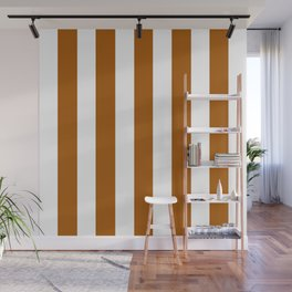 Windsor tan brown - solid color - white vertical lines pattern Wall Mural