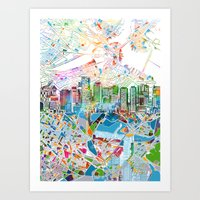 boston map Art Prints featuring boston city skyline map by Bekim ART