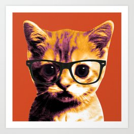Pop Art Cat Orange Art Print