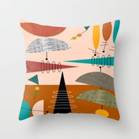 mid century modern Throw Pillows featuring Mid-Century  Modern Space Age by Kippygirl