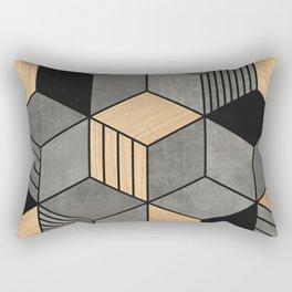Concrete and Wood Cubes 2 Rectangular Pillow