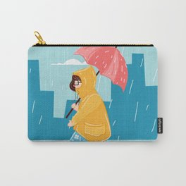 Walking Girl In Rain Day Carry-All Pouch
