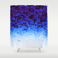 crystals Shower Curtains featuring Blue Crystals by 2sweet4words Designs