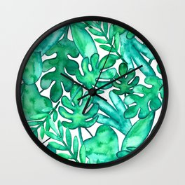 Watercolor tropical leaves Wall Clock