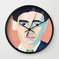 kafka Wall Clocks featuring Franz Kafka by Ellen Pater