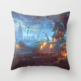 Scary Halloween Haunted House Jack O Lantern Pumpkinhead On Graveyard Throw Pillow