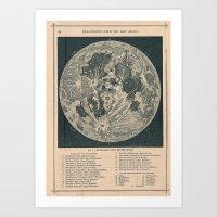 the moon Art Prints featuring Moon  by Le petit Archiviste