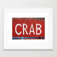 crab Framed Art Prints featuring Crab by Shy Photog