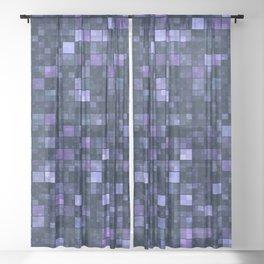 Blue Squares Sheer Curtain