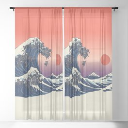 The Great Wave of Black Pug Sheer Curtain