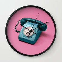 Green Rotary Phone on Pink Wall Clock