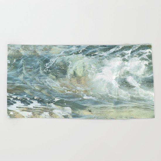 Cushion me soft, rock me billowy drowse, Dash me with amorous wet. Beach Towel