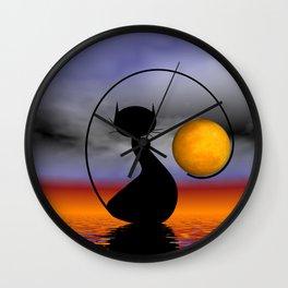 mooncat's balance Wall Clock