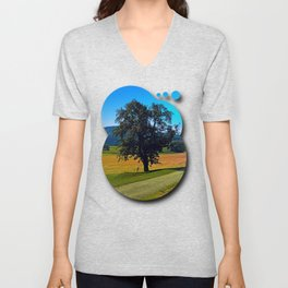 A tree with no name and two chairs Unisex V-Neck