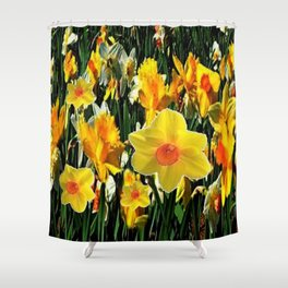 GOLDEN ORANGE YELLOW SPRING DAFFODILS Shower Curtain