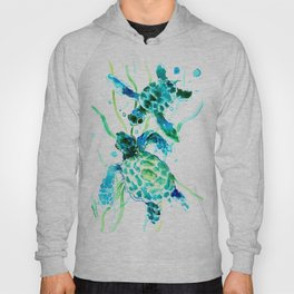 Sea Turtles, Turquoise blue Design Hoody