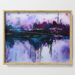Dawn, pink and fushia black and blue acrylic abstract artwork Serving Tray