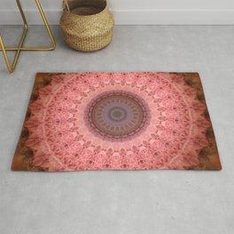 Mandala in brown and pink tones Rug
