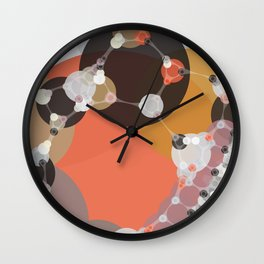 fiona - bright abstract coral pink mustard melon brown dusty rose grey peach Wall Clock