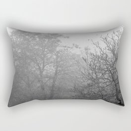 Black and white autumnal naked trees surrounded by fog Rectangular Pillow