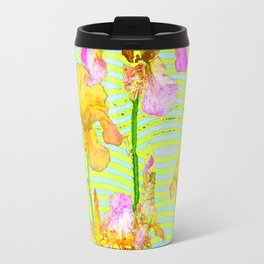 Contemporary Vibrant, Yellow-Purple Iris Pattern Art Travel Mug