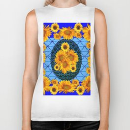 DECORATIVE BLUE ART & YELLOW SUNFLOWERS PATTERN Biker Tank