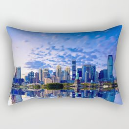 Statue of Liberty and Jersey City in Blue Hour Rectangular Pillow