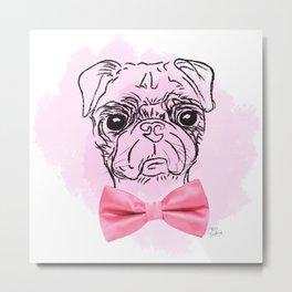 Pink Pug Metal Print