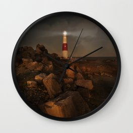 Evening Coast With Lighthouse Wall Clock