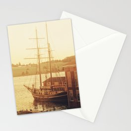 Tall Ship on Waterfront Stationery Cards