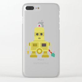 Giant yellow robot with a tree club Clear iPhone Case
