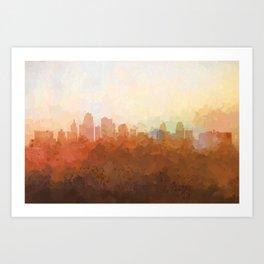 Kansas City, Missouri Skyline - In the Clouds Art Print
