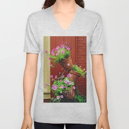 Potted Petunias Unisex V-Neck