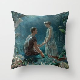 Hermia and Lysander. A Midsummer Night's Dream -  John Simmons Throw Pillow