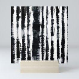 Tie-Dye Shibori Stripe BW Mini Art Print